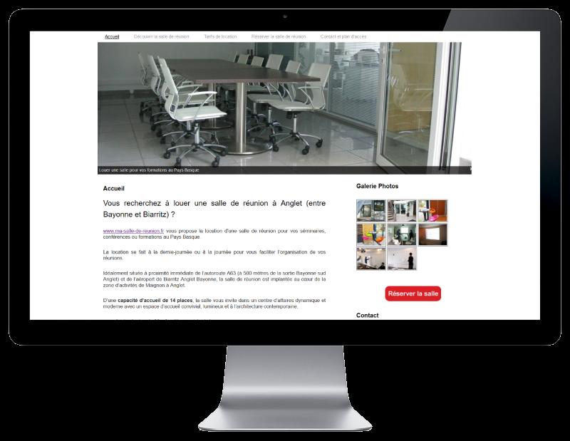 L'agence web REZO 21 d'anglet pays basque créé le site Internet de location d'une salle de réunion à Anglet dans la zone de Maignon sur grand écran