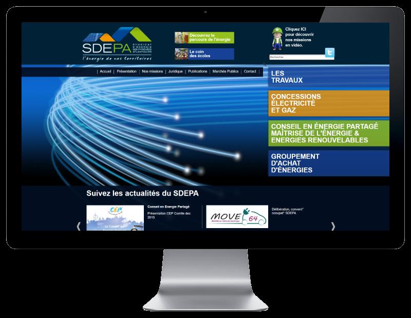 L'agence web REZO 21 Anglet réalise le site du SDEPA Pau Béarn, vue sur grand écran