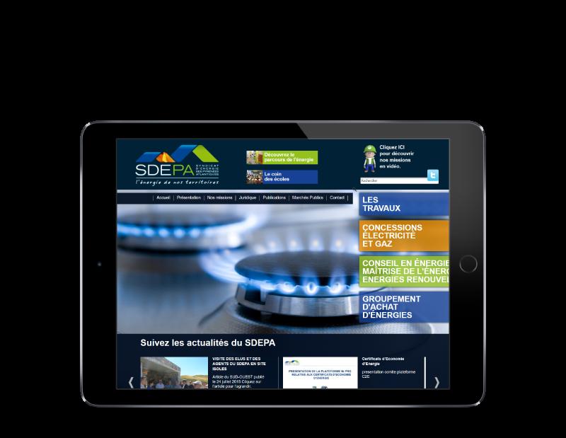 L'agence web REZO 21 Anglet réalise le site du SDEPA Pau Béarn, vue sur tablette