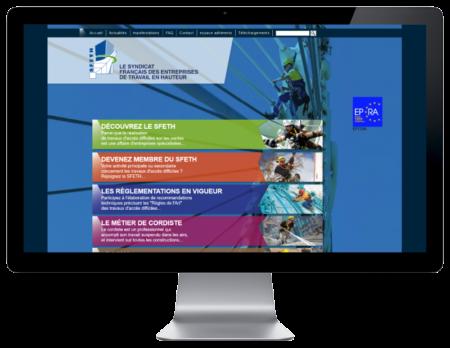 L'agence web REZO 21 d'Anglet développe le nouveau site du Syndicat Français des Entreprises de Travail en Hauteur sur grand écran
