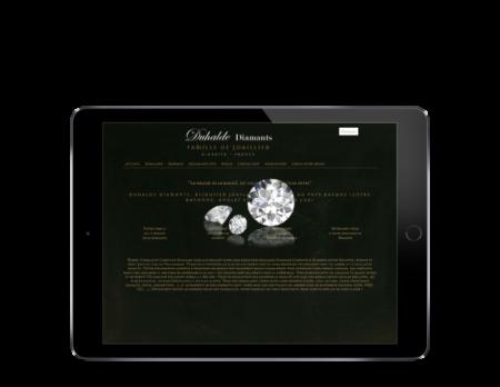 L'agence web REZO 21 d'anglet développe le catalogue en ligne de Duhalde Diamants Biarritz sur tablette