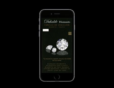 L'agence web REZO 21 d'anglet développe le catalogue en ligne de Duhalde Diamants Biarritz sur mobile