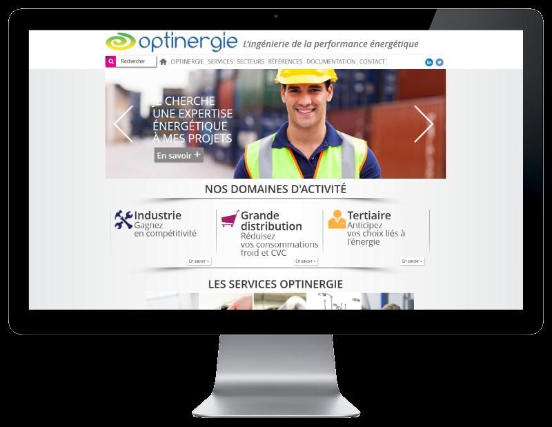 Optinergie, bureau d'études basé à Pau, choisit l'agence web REZO 21 Pays basque pour la création de son site Internet, vue sur grand écran