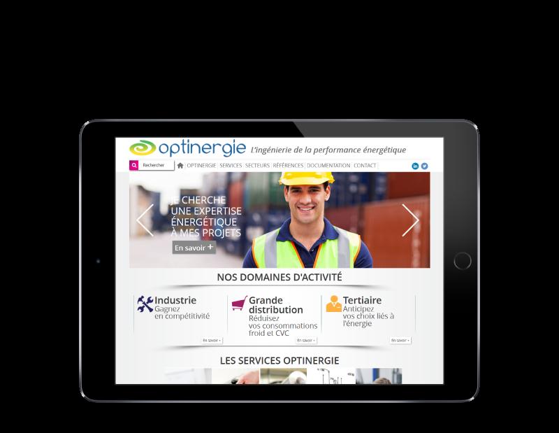 Optinergie, bureau d'études basé à Pau, choisit l'agence web REZO 21 Pays basque pour la création de son site Internet, vue sur tablette