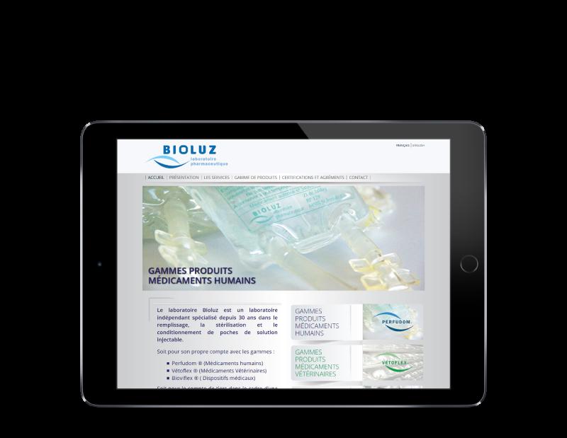 Les laboratoires Bioluz de Saint jean de luz choisissent l'agence web REZO 21 d'Anglet pour la conception de leur site Internet multilingue, vue sur tablette