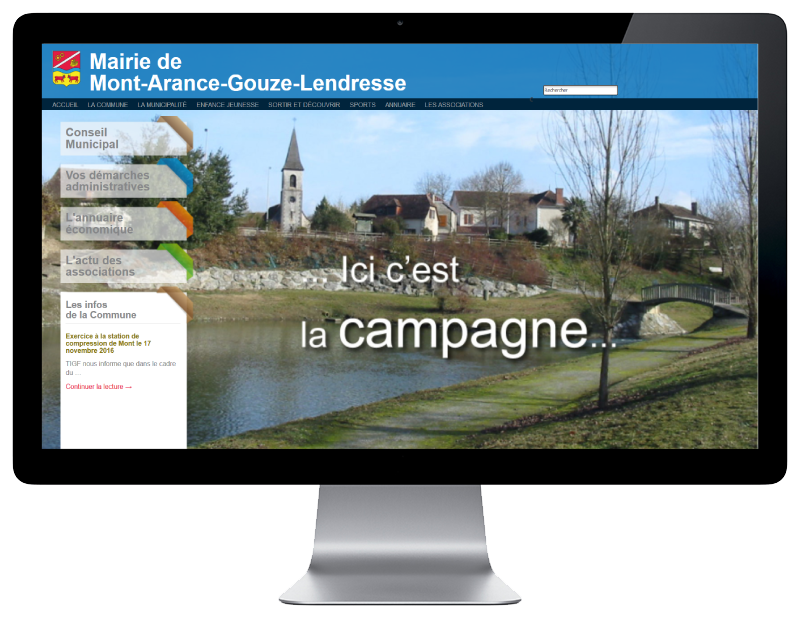 La mairie de Mont sélectionne l'agence web REZO 21 pour créer son site Internet, vue sur grand écran