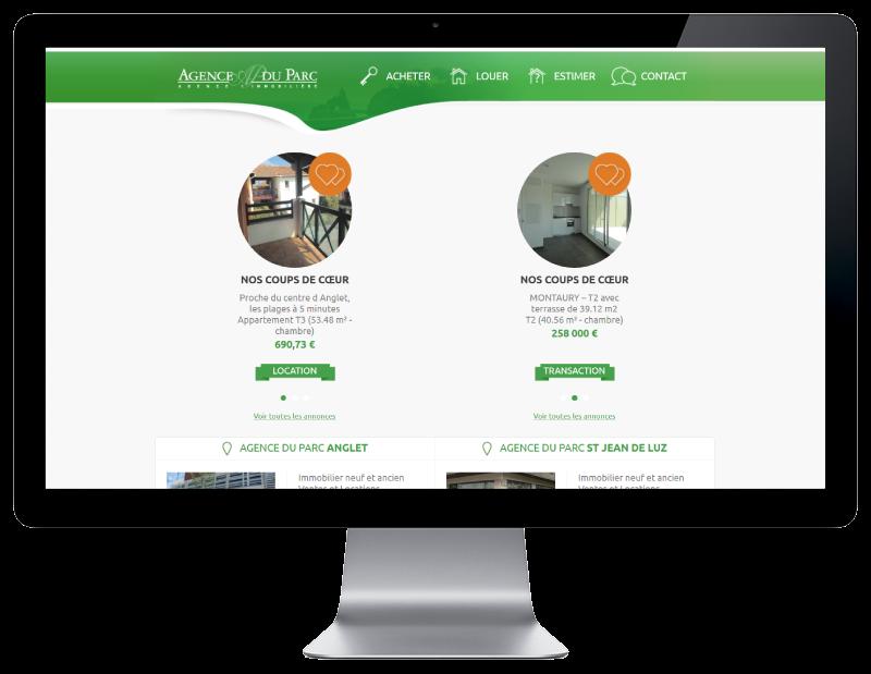 L'agence du parc Anglet confie la refonte de son site Internet à l'agence web REZO 21 sur grand écran