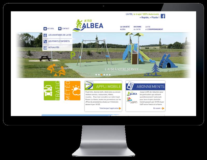 L'autoroute A150 Albéa choisit l'agence de création de sites Internet REZO 21 Pays basque pour son site web, vue sur grand écran