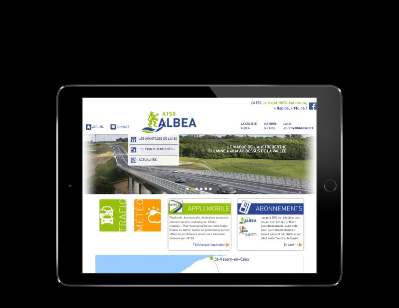 L'autoroute A150 Albéa choisit l'agence de création de sites Internet REZO 21 Pays basque pour son site web, vue sur tablette