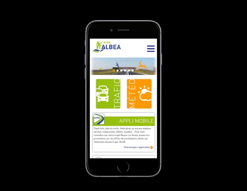 L'autoroute A150 Albéa choisit l'agence de création de sites Internet REZO 21 Pays basque pour son site web, vue sur mobile