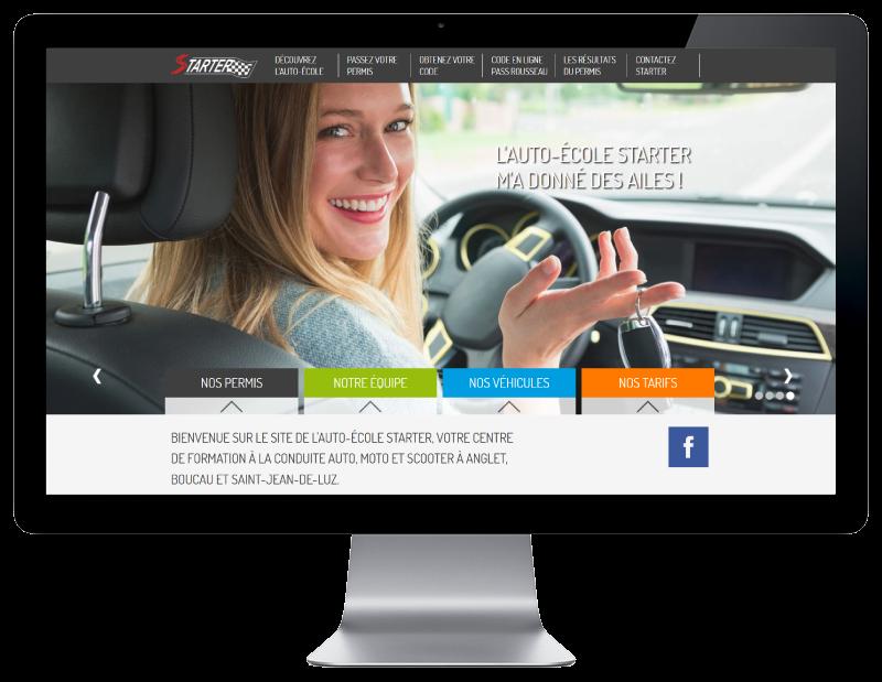 L'auto école starter Anglet choisit REZO 21 créateur de sites Internet au Pays Basque pour la refonte de son site Internet, vue sur grand écran
