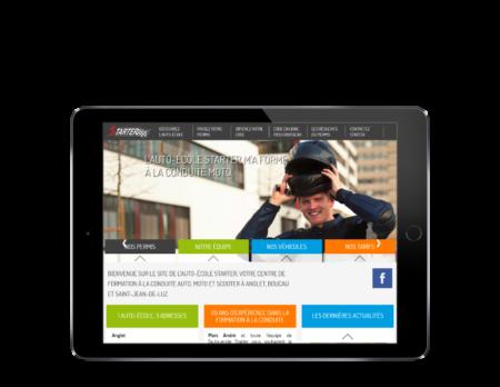 L'auto école starter Anglet choisit REZO 21 créateur de sites Internet au Pays Basque pour la refonte de son site Internet, vue sur tablette