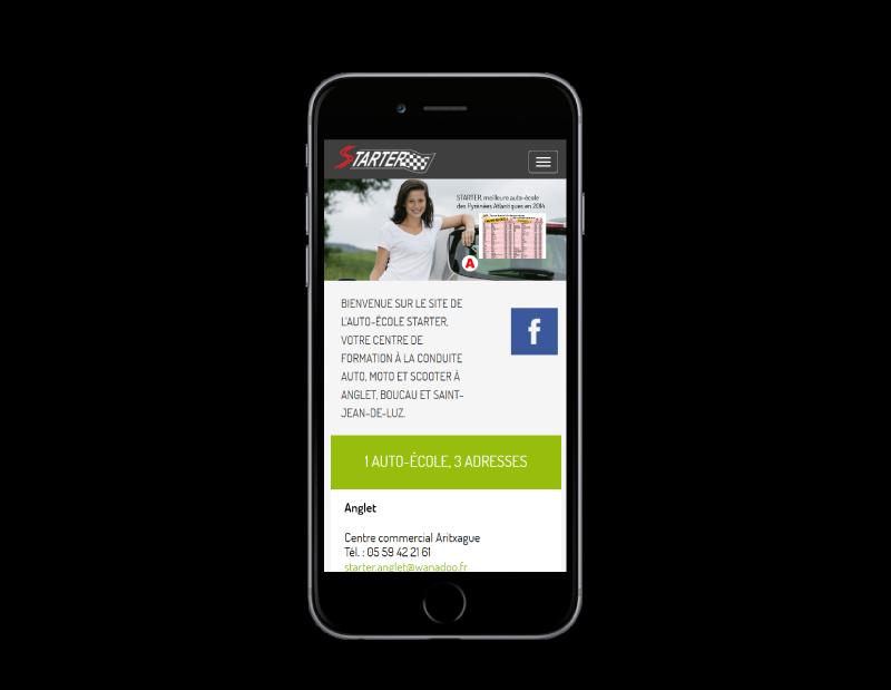 L'auto école starter Anglet choisit REZO 21 créateur de sites Internet au Pays Basque pour la refonte de son site Internet, vue sur mobile