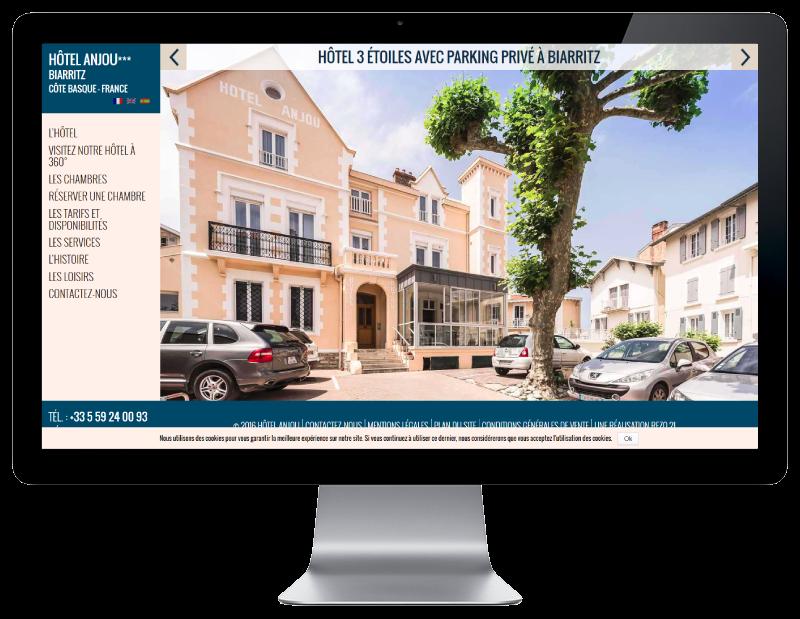 L'Hôtel Anjou Biarritz confie la refonte de son site Internet à l'agence web REZO 21 Anglet, vue sur grand écran