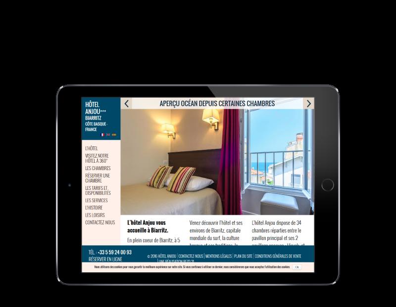 L'Hôtel Anjou Biarritz confie la refonte de son site Internet à l'agence web REZO 21 Anglet, vue sur tablette