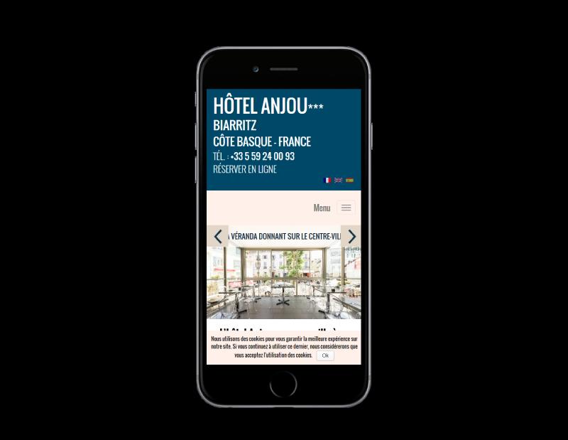 L'Hôtel Anjou Biarritz confie la refonte de son site Internet à l'agence web REZO 21 Anglet, vue sur mobile