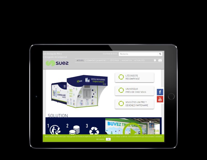 Réco France, filiale de suez, choisit l'agence web REZO 21 Pays basque pour la création de son site Internet, vue sur tablette