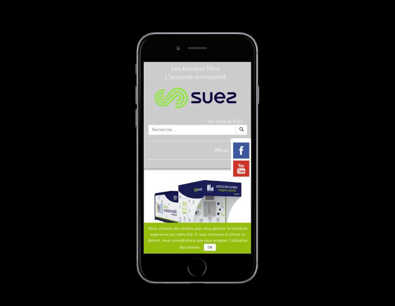 Réco France, filiale de suez, choisit l'agence web REZO 21 Pays basque pour la création de son site Internet, vue sur mobile