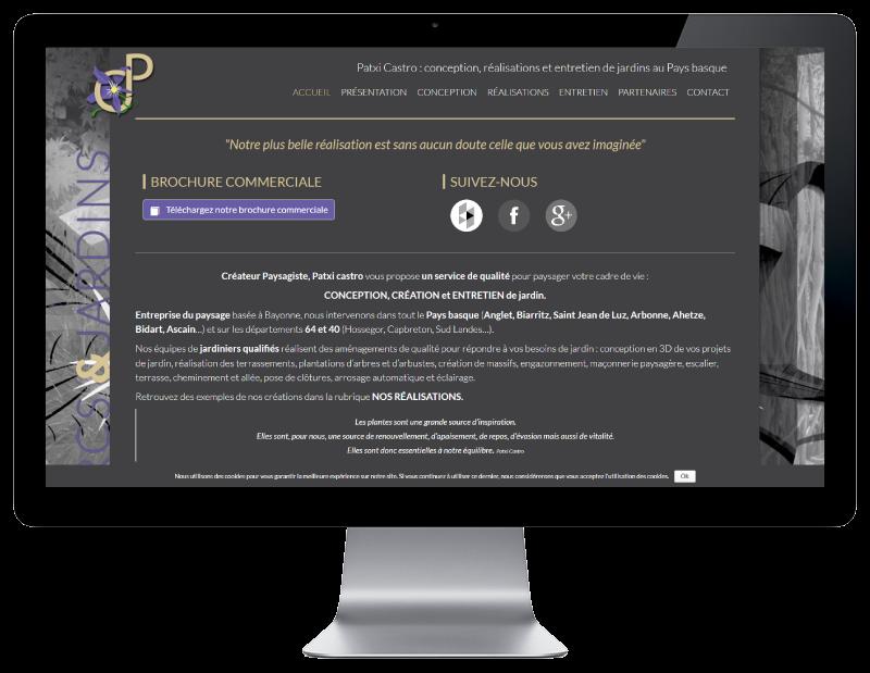 Patxi Castro, jardinier paysagiste au pays basque sélectionne l'agence web REZO 21 anglet pour créé son nouveau site Internet, vue sur grand écran