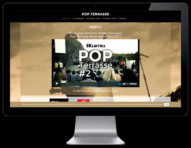 Le concert Pop Terrasse Anglet met à jour son site Internet avec REZO 21, créateur de sites Internet au Pays basque, vue sur grand écran
