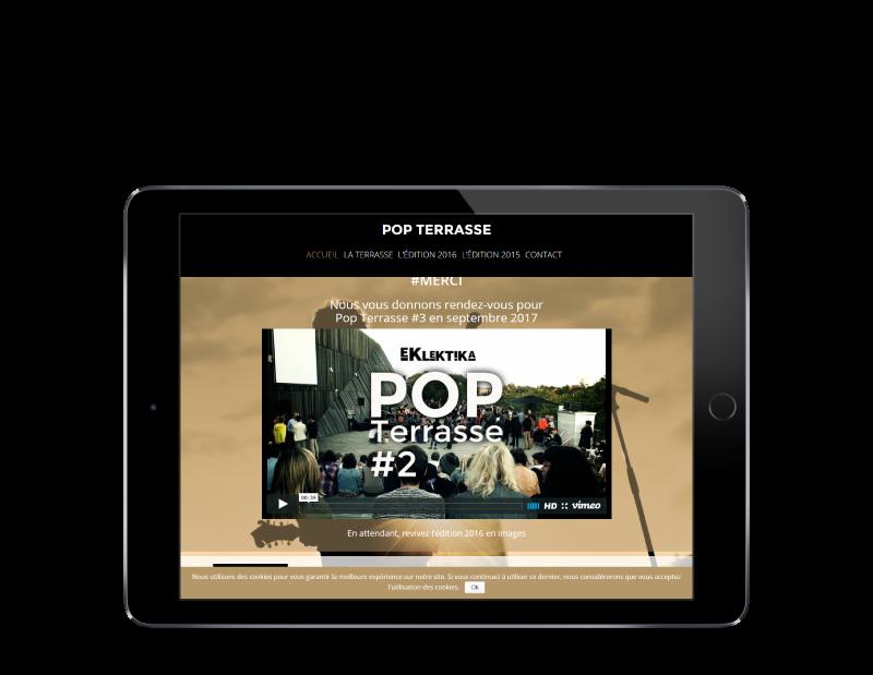 Le concert Pop Terrasse Anglet met à jour son site Internet avec REZO 21, créateur de sites Internet au Pays basque, vue sur tablette