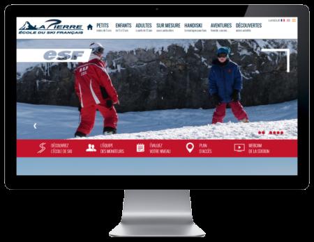 L'ecole de ski français de Lapierre Saint Martin renouvelle son site Internet multilingue avec l'agence de création de sites Internet REZO 21, vue sur grand écran