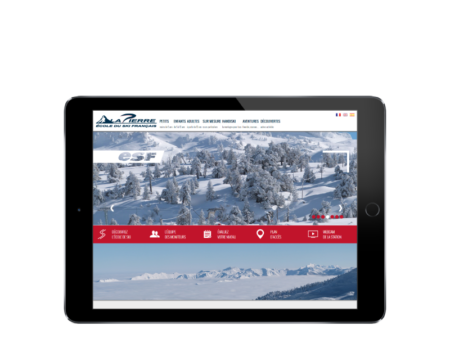 L'ecole de ski français de Lapierre Saint Martin renouvelle son site Internet multilingue avec l'agence de création de sites Internet REZO 21, vue sur tablette