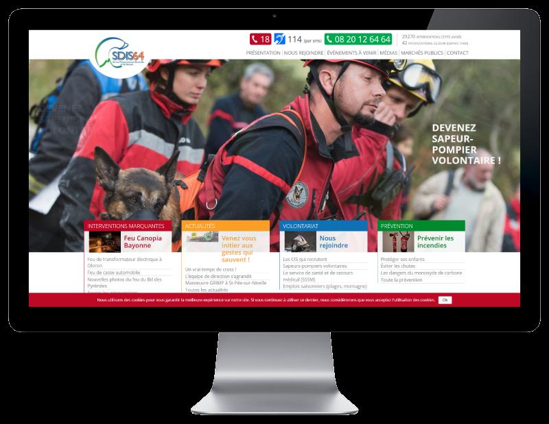 Les pompiers des Pyrénées Atlantiques retiennent l'agence web REZO 21 d'Anglet pour la création de leur site Internet, vue sur grand écran