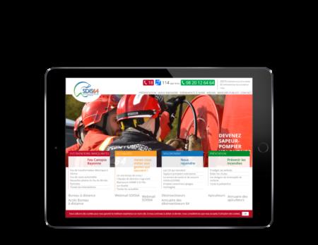 Les pompiers des Pyrénées Atlantiques retiennent l'agence web REZO 21 d'Anglet pour la création de leur site Internet, vue sur tablette