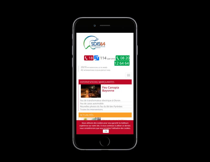 Les pompiers des Pyrénées Atlantiques retiennent l'agence web REZO 21 d'Anglet pour la création de leur site Internet, vue sur mobile