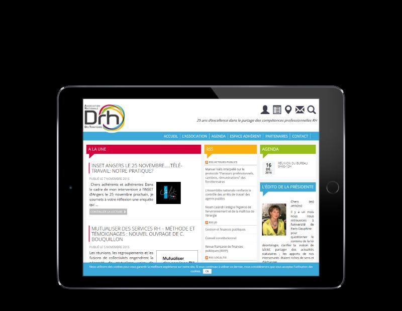 L'ANDRHDT choisit REZO 21 créateur de sites Internet au Pays basque pour la conception de son nouveau site Internet, vue sur tablette