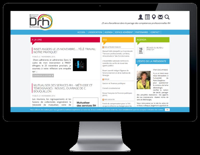 L'ANDRHDT choisit REZO 21 créateur de sites Internet au Pays basque pour la conception de son nouveau site Internet, vue sur grand écran
