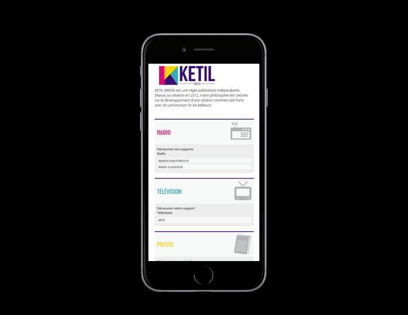 REZO 21, agence web à Anglet, conçoit le nouveau site Internet de Ketil média, vue sur mobile