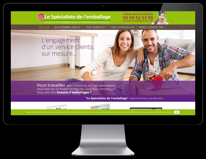Le spécialiste de l'emballage Bayonne créé son site Internet avec l'agence web REZO 21, vue sur grand écran