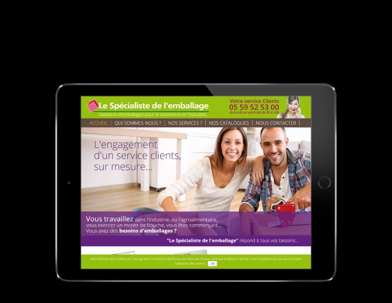 Le spécialiste de l'emballage Bayonne créé son site Internet avec l'agence web REZO 21, vue sur tablette