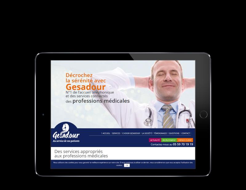 Gesadour choisit l'agence web REZO 21 pour développer son site Internet, vue sur tablette