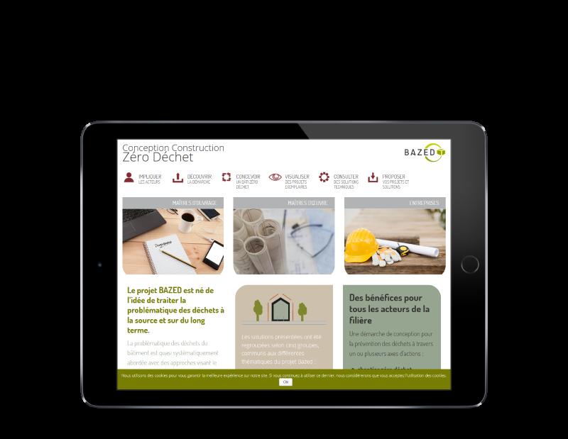 BAZED, projet européen confie la création de son site Internet à REZO 21, agence web à Anglet Pays Basque, vue sur tablette