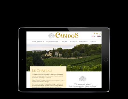 Chateau de Cabidos, domaine viticole sélectionne REZO 21 pour le développement de sa boutique en ligne sur WooCoommerce, vue sur tablette