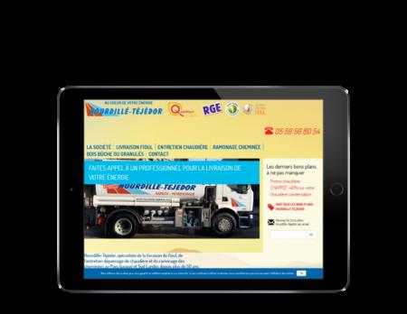 L'agence web REZO 21 Anglet réalise le nouveau site Internet d'Hourdillé-Téjédor, vue sur tablette