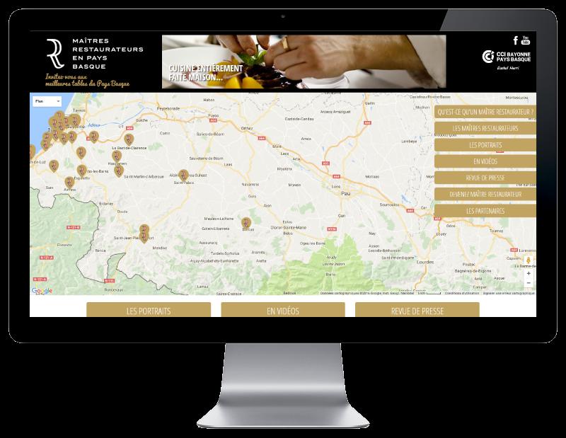 Les maitres restaurateurs du pays Basque ont maintenant leur site Internet, développé par l'agence web REZO 21 Anglet, vue sur grand écran