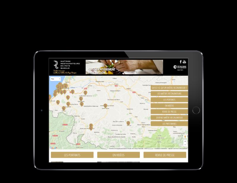 Les maitres restaurateurs du pays Basque ont maintenant leur site Internet, développé par l'agence web REZO 21 Anglet, vue sur tablette