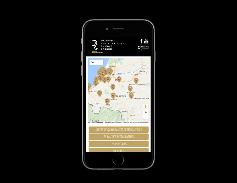 Les maitres restaurateurs du pays Basque ont maintenant leur site Internet, développé par l'agence web REZO 21 Anglet, vue sur mobile