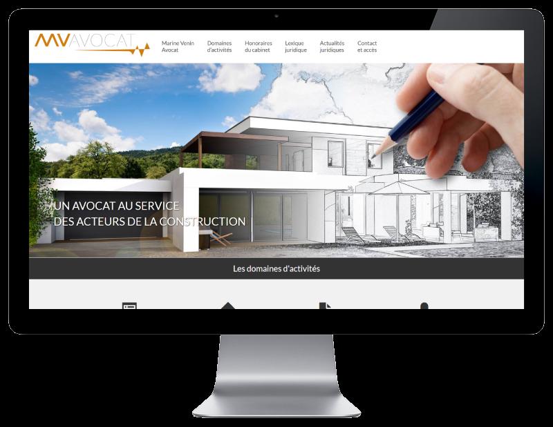 Marine Venin Avocat au barreau de Bordeaux sélectionne REZO 21 agence web a Anglet pour la création de son site Internet, vue sur grand écran