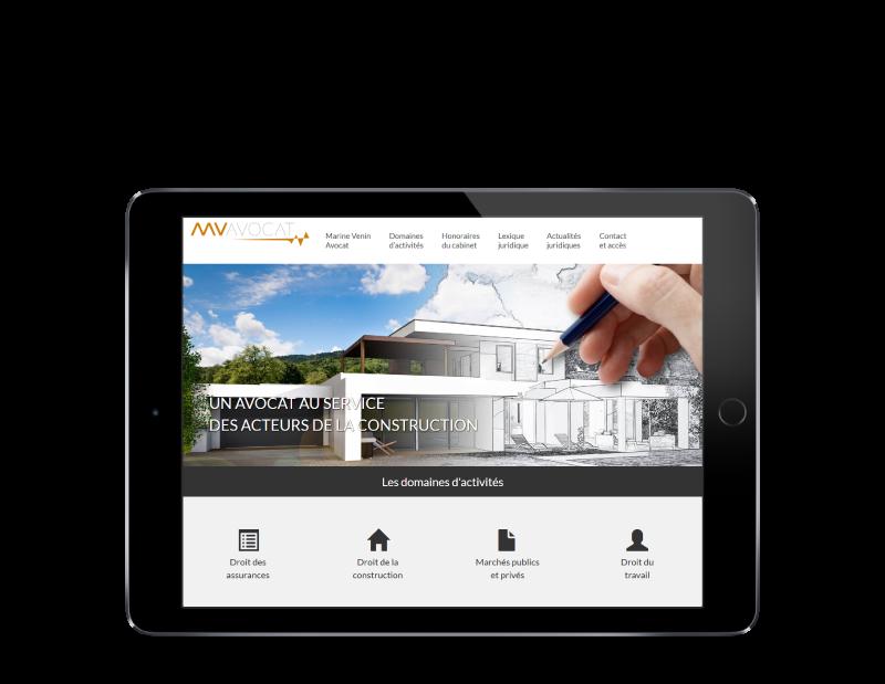 Marine Venin Avocat au barreau de Bordeaux sélectionne REZO 21 agence web a Anglet pour la création de son site Internet, vue sur tablette
