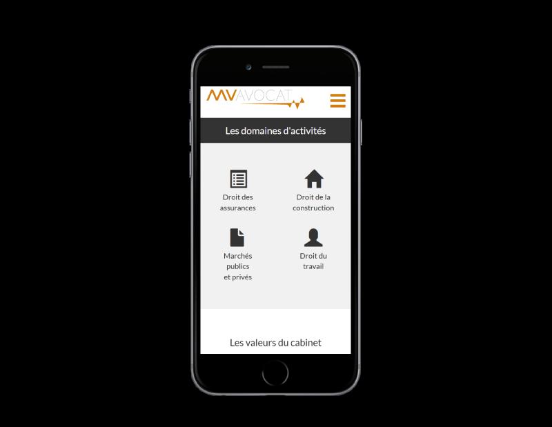 Marine Venin Avocat au barreau de Bordeaux sélectionne REZO 21 agence web a Anglet pour la création de son site Internet, vue sur mobile