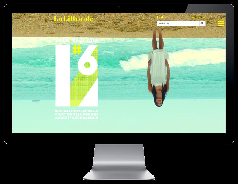 La biennale d'Art contemporain de la ville d'Anglet lance son site Internet avec l'agence web REZO 21, vue sur grand écran