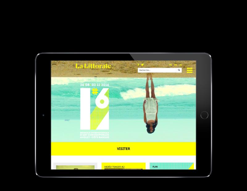 La biennale d'Art contemporain de la ville d'Anglet lance son site Internet avec l'agence web REZO 21, vue sur tablette