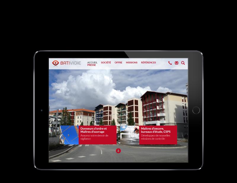 REZO 21, créateur de sites Internet réalise le nouveau site Internet de BATIVIGIE, vue sur tablette