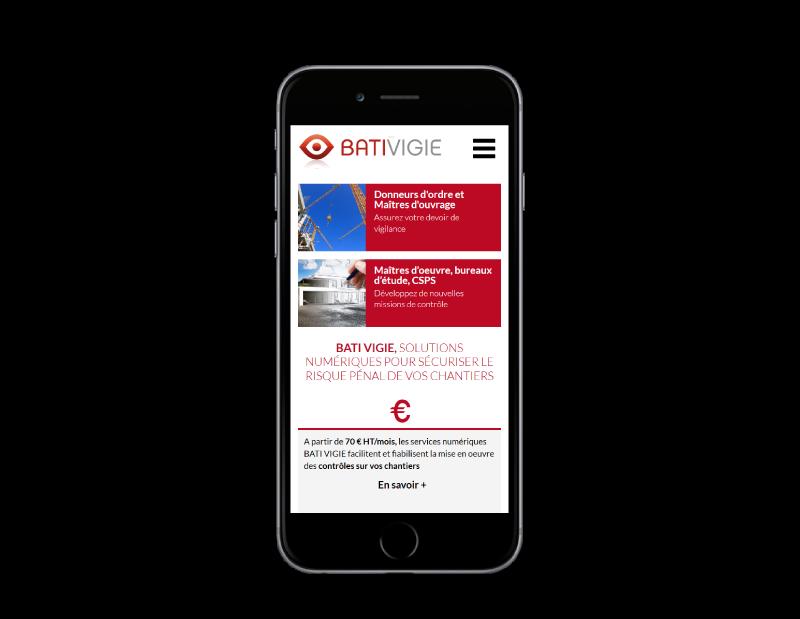 REZO 21, créateur de sites Internet réalise le nouveau site Internet de BATIVIGIE, vue sur mobile