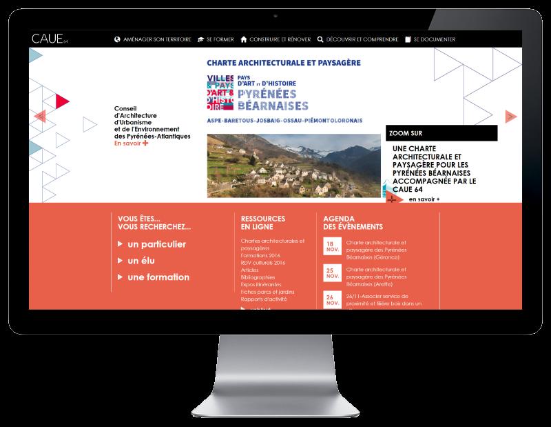Le CAUE Pyrénées Atlantiques retient l'agence web REZO 21 pour la création de son nouveau site Internet, vue sur grand écran